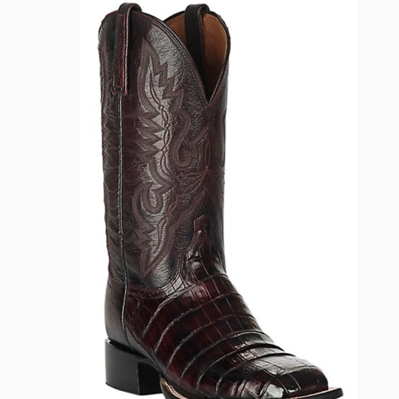 d7125f73182 Lucchese Black Cherry Caiman Belly Boots